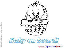 Basket Boy Baby on board download Illustration