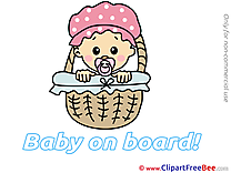 Basket Kid Cliparts Baby on board for free