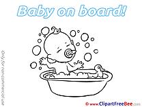 Bathing Pics Baby on board Illustration