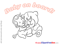 Bear Baby on board free Images download