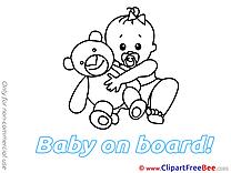 Bear Pics Baby on board Illustration