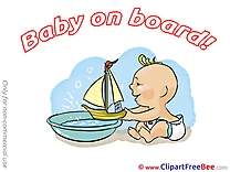 Boat free Illustration Baby on board