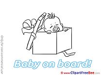 Box printable Illustrations Baby on board