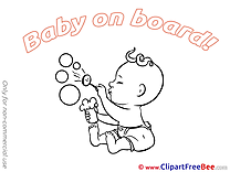 Bubbles free Illustration Baby on board