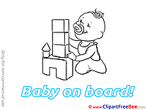 Castle Baby on board Clip Art for free