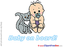 Cat Baby on board free Images download