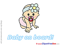 Clipart Crouch Baby on board Illustrations