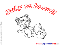 Coloring Teddy Bear Baby on board Illustrations for free