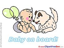 Dog Balloons free Illustration Baby on board