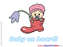 Flower Cliparts Baby on board for free
