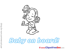 Girl download Baby on board Illustrations