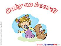 Girl Teddy Bear download Baby on board Illustrations