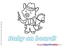 Horse Cowboy free Illustration Baby on board
