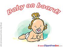Little Girl printable Illustrations Baby on board