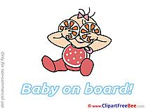 Orange free Illustration Baby on board