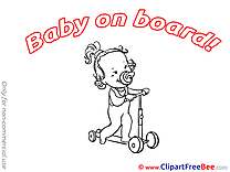 Scooter Clipart Baby on board Illustrations