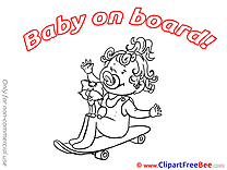 Skate Cat Baby on board Illustrations for free