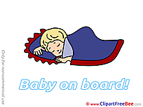 Sleeping printable Illustrations Baby on board