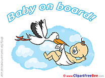 Stork Clipart Baby on board Illustrations