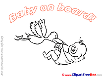 Stork free Cliparts Baby on board