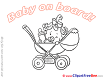 Stroller Baby on board Clip Art for free