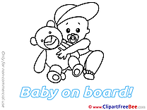 Teddy Bear Baby on board Clip Art for free