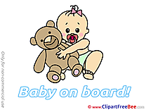 Teddy Bear Clipart Baby on board Illustrations