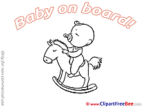 Wooden Horse Baby on board Illustrations for free