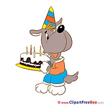 Dog with Cake printable Birthday Images
