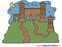 Night Moon Castle Pics printable Cliparts