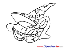 Mask Coloring Clipart Carnival Illustrations