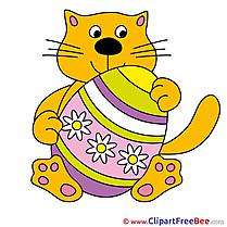 Flowers Egg Easter Cat Clipart free Illustrations