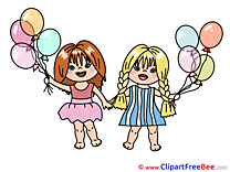 Balloons Girls Clipart free Illustrations