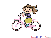 Bicycle Girl Clipart free Image download