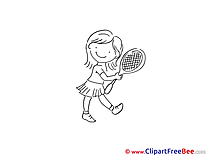 Tennis Player Girl Cliparts printable for free
