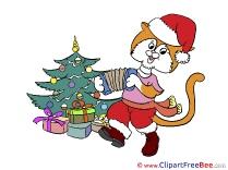 Accordion Cat Pics Christmas Illustration