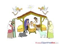Birth of Jesus Clipart Christmas Illustrations