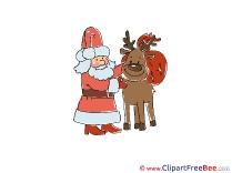 Cliparts Deer Santa Christmas for free