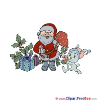 Rabbit Santa Claus printable Illustrations Christmas