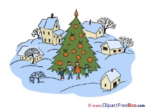 Village Christmas Tree Clip Art for free
