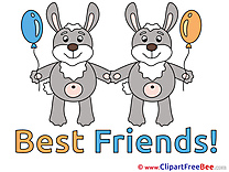 Bunnies Balloons Clipart Best Friends Illustrations