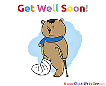 Crutches Gypsum Bear printable Illustrations Get Well Soon