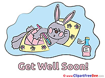 Hare Cliparts Get Well Soon for free