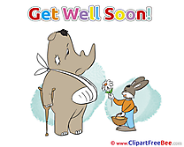 Rabbit Flower Rhino Cliparts Get Well Soon for free