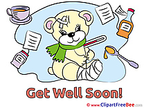 Thermometer Bear Gypsum Get Well Soon download Illustration
