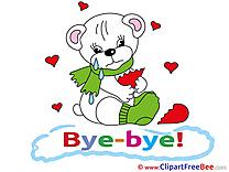 Bear Broken Heart Clipart Goodbye Illustrations