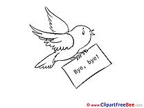 Bird Goodbye Clip Art for free