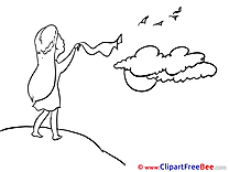 Clouds Sky Woman Pics Goodbye free Cliparts