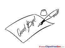 Letter Pen Cliparts Goodbye for free