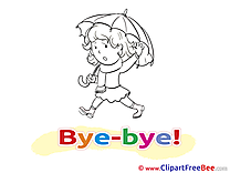 Umbrella Girl printable Goodbye Images